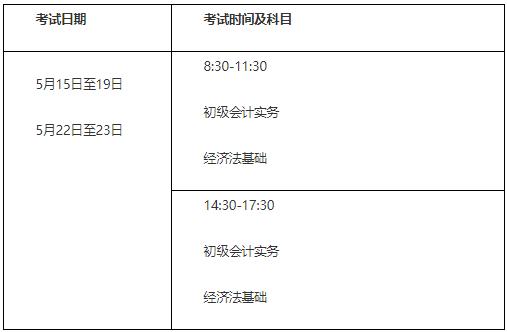 2021年兵团初级会计职称考试时间5月15日至19日,5月22日至23日