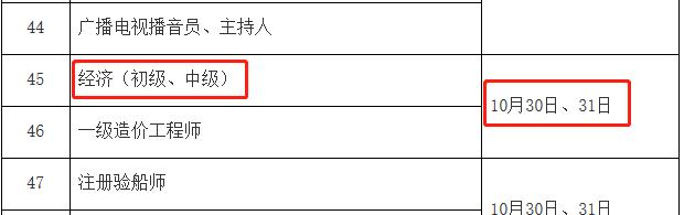 2021年上海中级经济师考试时间:10月30日、31日